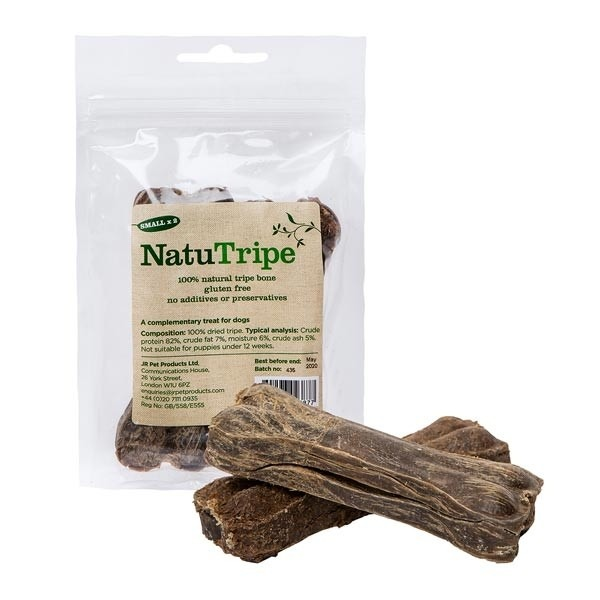 """natu tripe small - JR-Natutripe Small 4"""" Bone-2 In Pack- Natural Dog Treats"""