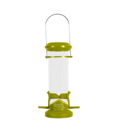 plastic silo bird feeder 2 perch green - Zolux - Wild Bird Plastic Silo Feeder 2 Perch - Green
