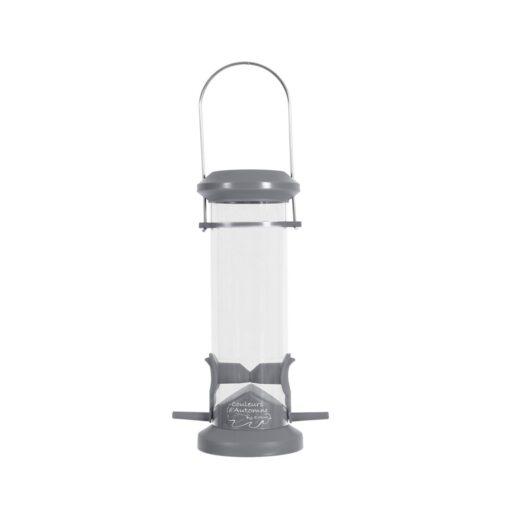 plastic silo bird feeder 2 perch grey - Zolux - Wild Bird Plastic Silo Feeder 2 Perch - Grey
