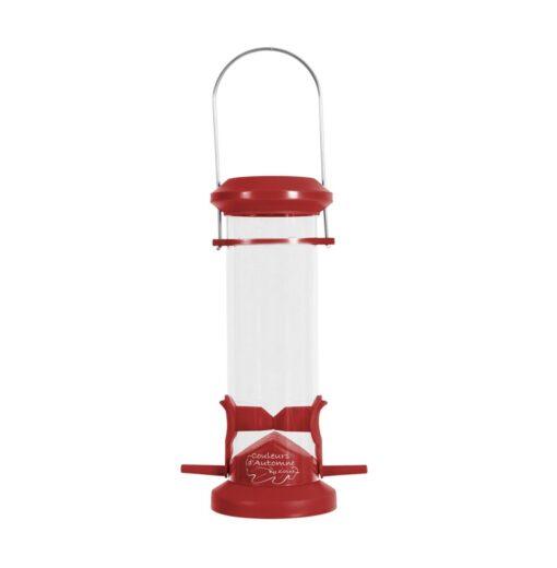 plastic silo bird feeder 2 perch red - Zolux - Wild Bird Plastic Silo Feeder 2 Perch - Red