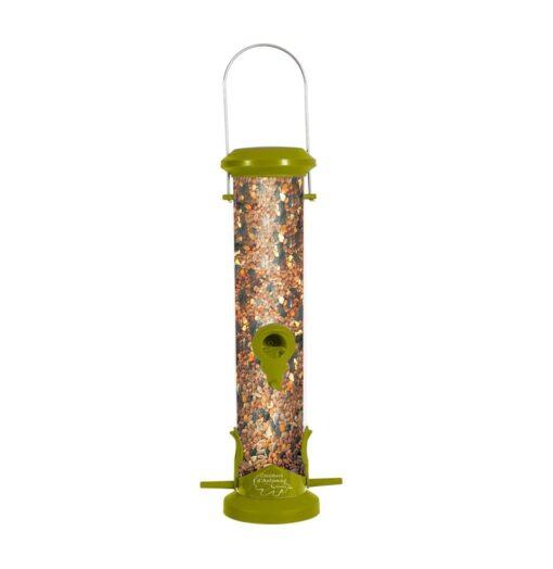 plastic silo bird feeder 4 perch green - Zolux - Wild Bird Plastic Silo Feeder 4 Perch - Green