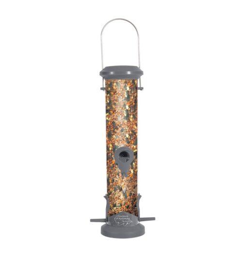 plastic silo bird feeder 4 perch grey - Zolux - Wild Bird Plastic Silo Feeder 4 Perch - Grey