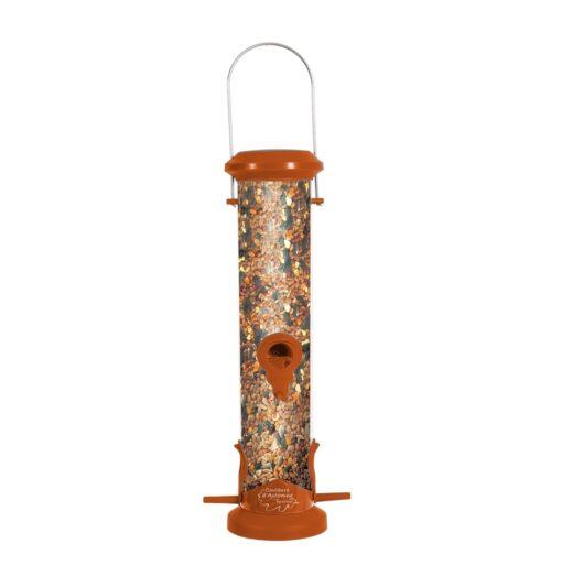 plastic silo bird feeder 4 perch orange - Zolux - Wild Bird Plastic Silo Feeder 4 Perch - Orange
